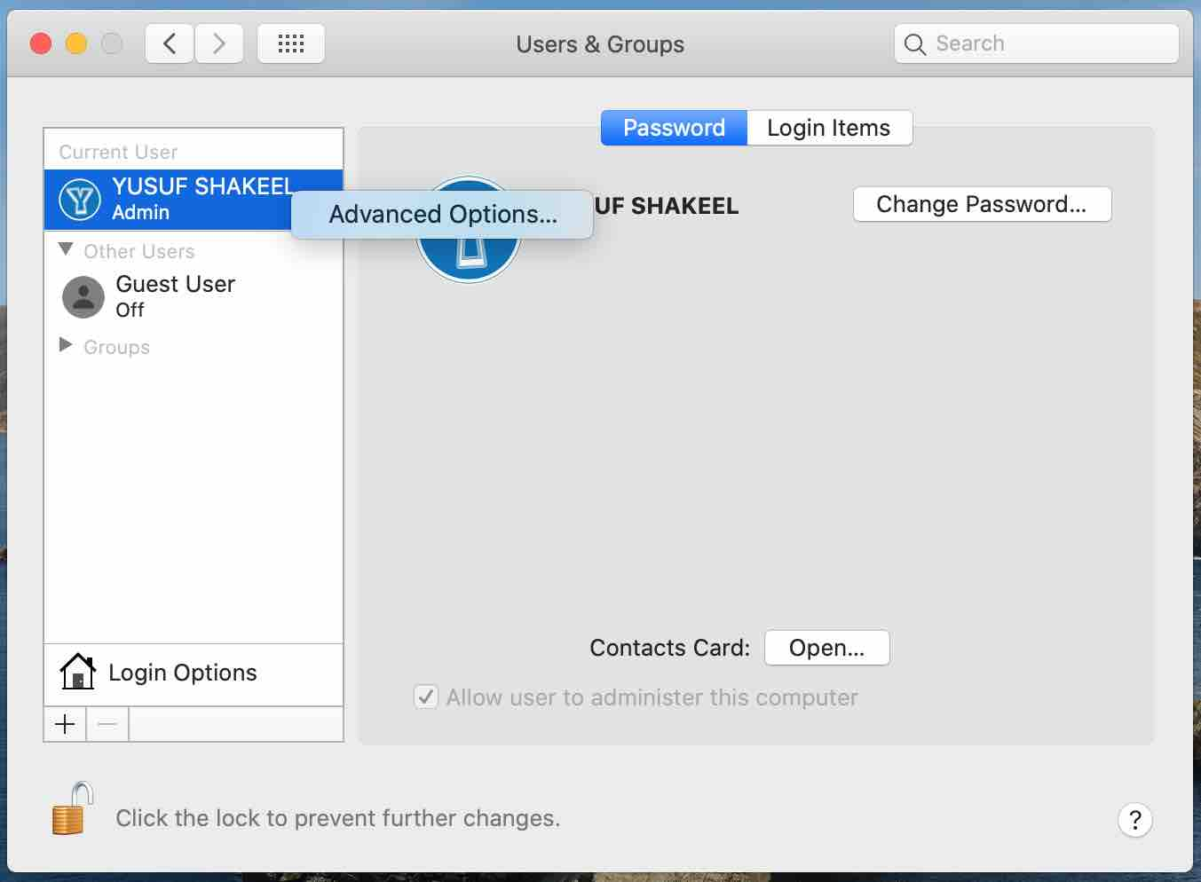 apple macos catalina - system preferences users and groups