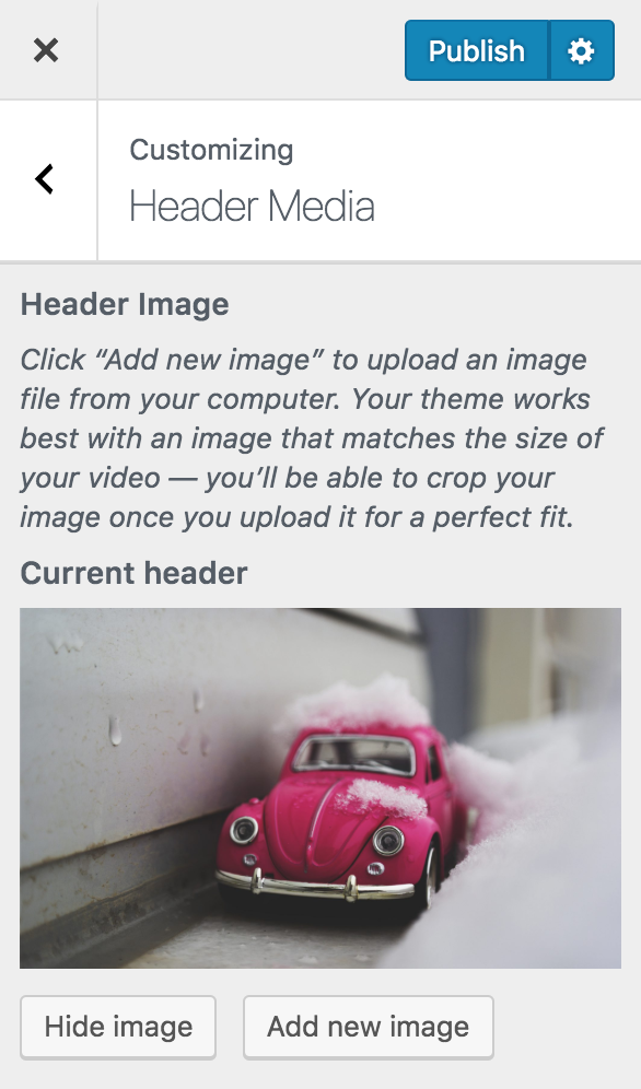 wordpress appearance customize header image crop image