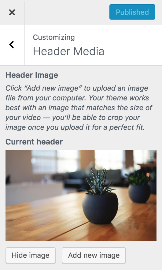 wordpress appearance customize header image