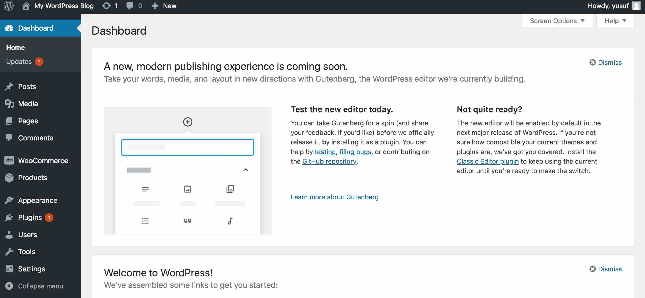 wordpress wp-admin dasboard page