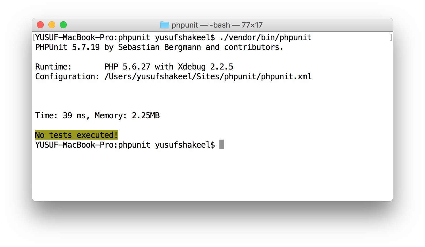 install phpunit mac composer