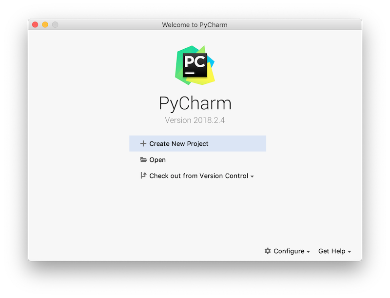 pycharm community edition - create new project