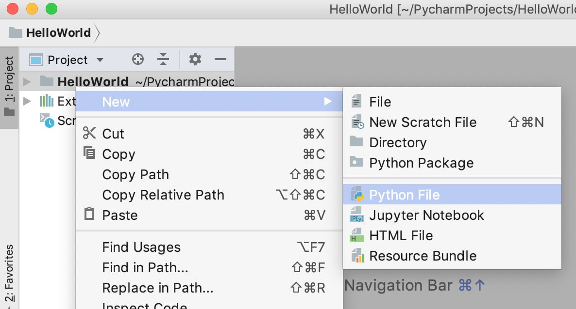 pycharm community edition - new python file