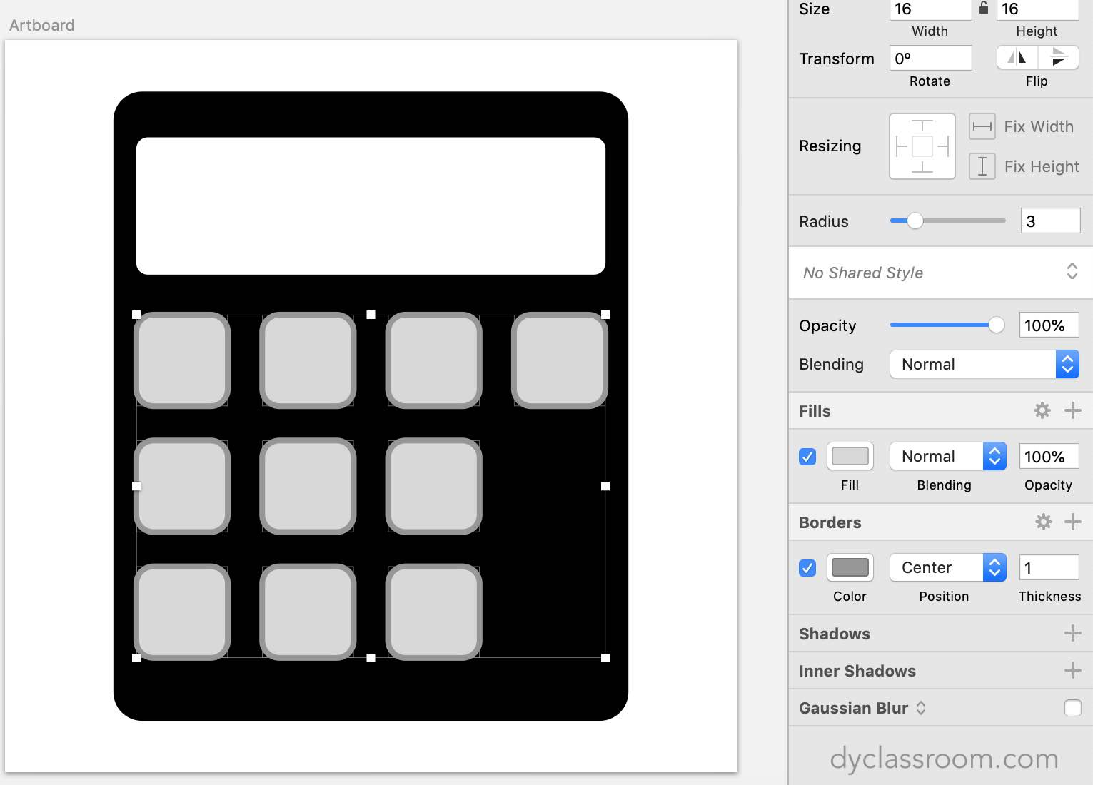 sketch app - calculator icon - buttons shape
