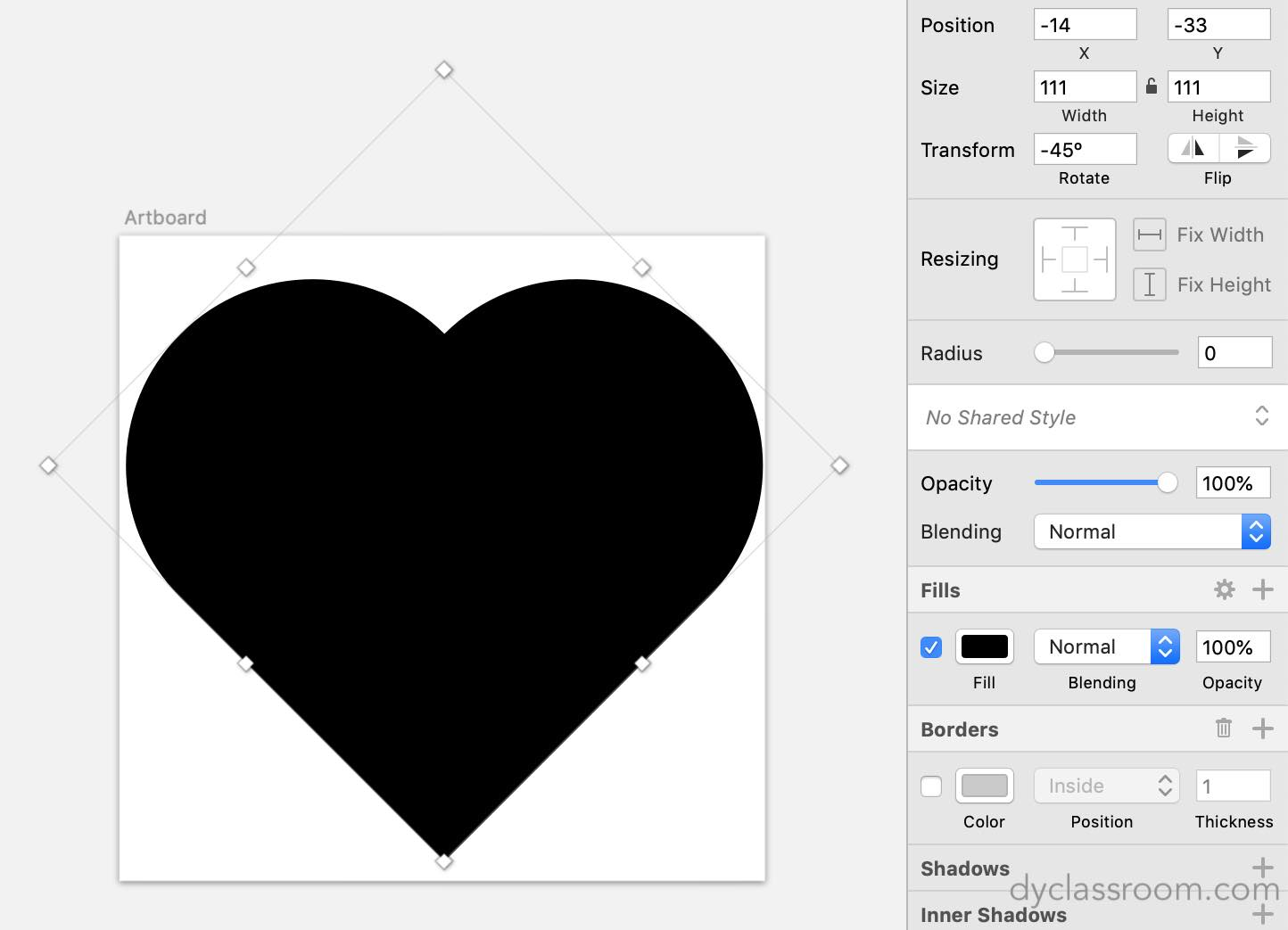 sketch app - heart icon - heart shape rotated 45 degrees